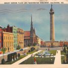 Mount Vernon Place, Baltmore, Md 1940 Postcard (B277) Maryland