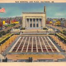 Baltmore, Md War Memorial and Plaza Postcard (B281) Maryland
