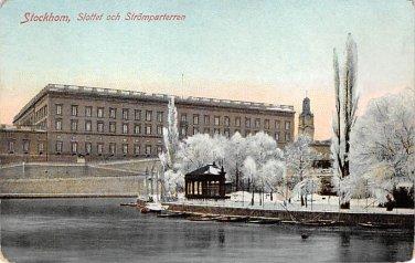 Stockholm, Sweden, Sverige Postcard -Slottet och Stromparterren (B342-343)
