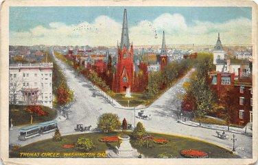 Washington, DC Thomas Circle Postcard 1922 (B381)