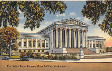 Washington, DC US Supreme Court Bldg Linen Postcard (B392)
