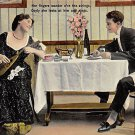 Her Fingers wander o're the strings - Romance Postcard 1908 (B428)