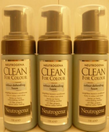 3 Neutrogena Clean For Colour Colour-Defending Foam  4 FL.OZ Each