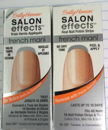 2 New Sally Hansen Salon Effects French Mani Strips +004 Steel The Night