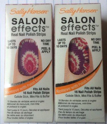 2 Sally Hansen Salon Effects Real Nail Polish Strips # 560 TIE-DYE FOR (TIE-DYE)