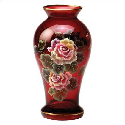 HAND-PAINTED RUBY VASE  Retail: $24.95