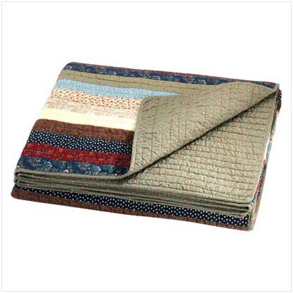 STRIPED PATCHWORK QUILT COVER  Retail: $89.95