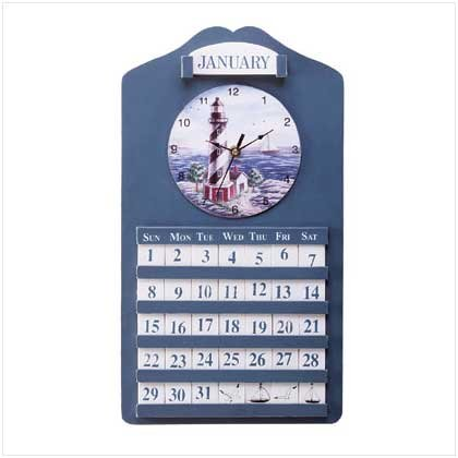 LIGHTHOUSE WALL CLOCK AND CALENDAR RETAIL: $29.95