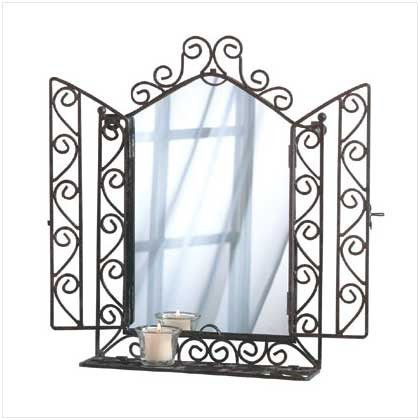 ORNATE WALL MIRROR WITH SHELF  RETAIL: $24.95