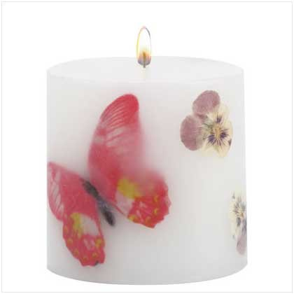 BUTTERFLY FLORAL CANDLE  Retail; $7.95