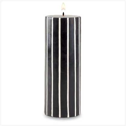 TALL BLACK AND WHITE STRIPED CANDLE  Retail: $12.95