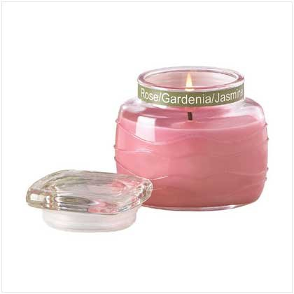 PINK RIPPLE JAR CANDLE   Retail: $ 9.95