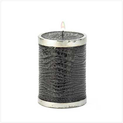 BLACK FAUX ALLIGATOR CANDLE  Retail; $9.95