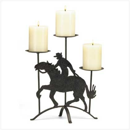 COWBOY ON HORSE CANDLEHOLDER  Retail; $19.95