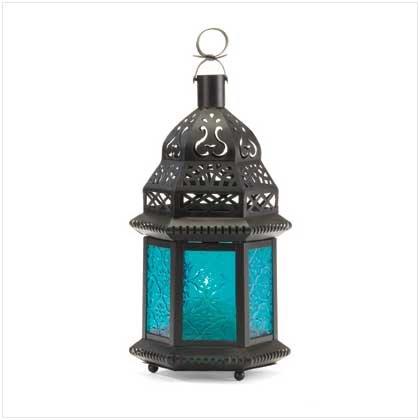 BLUE GLASS MOROCCAN-STYLE LANTERN  Retail: $9.95