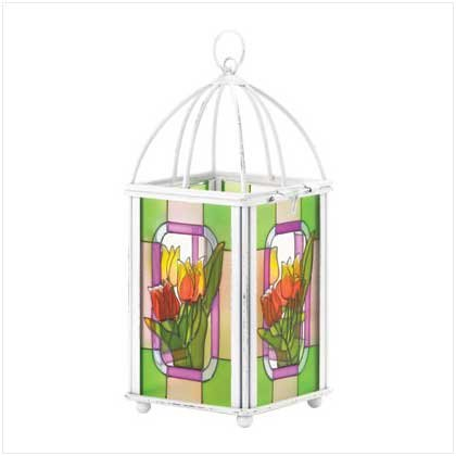 TULIP STAINED GLASS LANTERN  Retail: $12.95