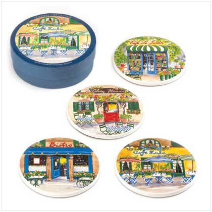 FRENCH CAFE COASTER SET  Retail: $12.95