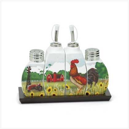 COUNTRY ROOSTER CRUET SET  Retail: $24.95