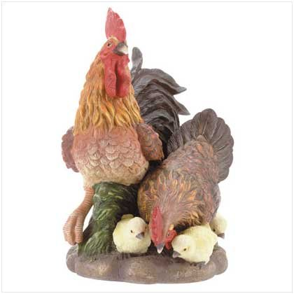 CHICKEN FAMILY SCULPTURE  Retail: $24.95
