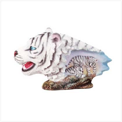 WHITE TIGER HEAD FIGURINE