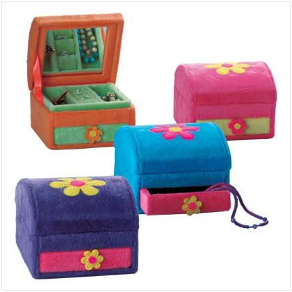 PLUSH FLOWER JEWELRY BOXES   4 PACK