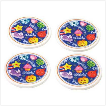 CELEBRATE! COASTER SET  Retail; $9.95