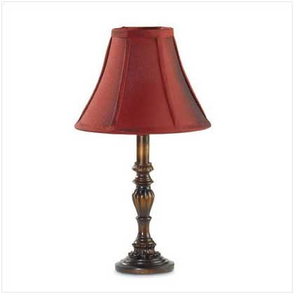 BURGUNDY SHADED TABLE LAMP