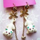 NWT Betsey Johnson Enamel Kitty Cat Dangle Earrings
