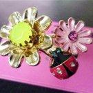 NWT Betsey Johnson Daisy Flower Ladybug Ring Size 7.5