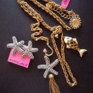 NWT Betsey Johnson Starfish Chunky Necklace + Earrings