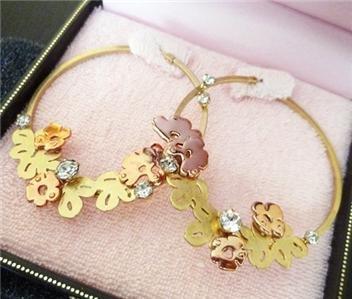 NIB Juicy Couture Modern Rose Gold Floral Hoop Earrings