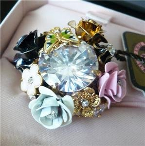 NWT Juicy Couture Flower Rose Cluster Adjustable Ring