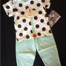 NWT Cachcach Twitter Dots Ivory baby Tee Pants Set 18M