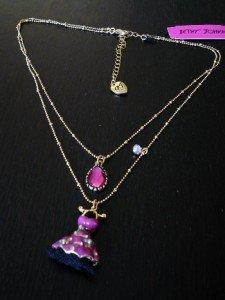 NWT Betsey Johnson Crystal Enamel Pom Dress Necklace