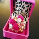 NWT Betsey Johnson Pom Pom Pearl Bow Cluster Ring $65