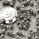 70pcs Antique Silver Plated Bali Tube Beads 7.5mm a221
