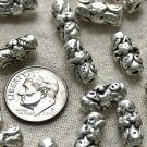 10 Antique Silver Plated Bali Tube Beads Flower Finding a203