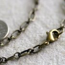 Antique Bronze Plated Metal Cable Chain Necklace Blank Bronze Necklace 8mm cn139 18""