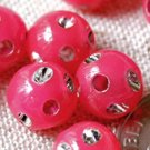 100 Ornate sparkling Plastic Beads Roseate Red 8mm p101