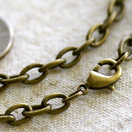 "Antique Bronze Cable Chain Necklace Blank Bronze Necklace cn02 30"""