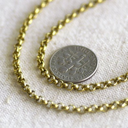 "Raw Brass Round Brass Link Rolo Chain Necklace cn57 30"""