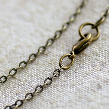 """Antique Bronze Brass Cable Chain Necklace Blank Bronze Necklace cn70a 30"""""""