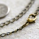"Antique Bronze Brass Chain Necklace Blank Bronze Necklace  cn72a 30"""