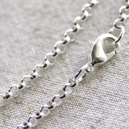 """Sterling Silver Plated Brass Rolo Chain Necklace Silver Necklace cn77 30"""""""