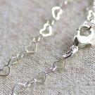 Sterling Silver Plated Brass Heart Link Chains Necklace Blank Silver Chain cn83 30""