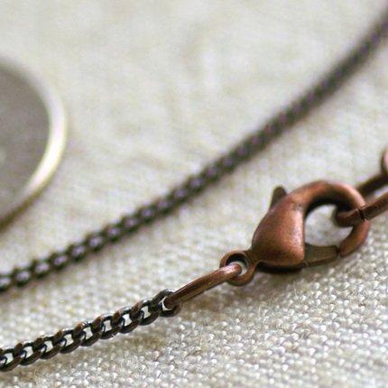 "Antique Copper Brass Curb Chain Blank Necklace Copper Necklace  cn12d 30"""