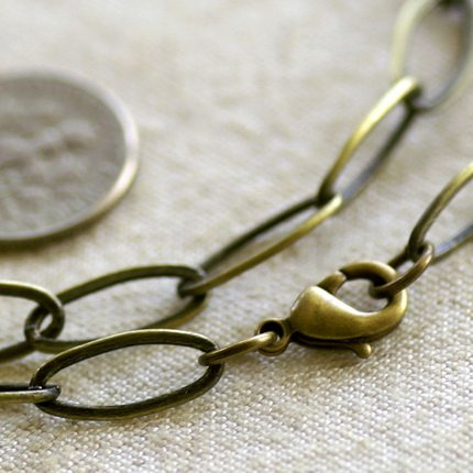 Antique Bronze Brass Chains Necklace Blank Bronze Necklace cn106 30""