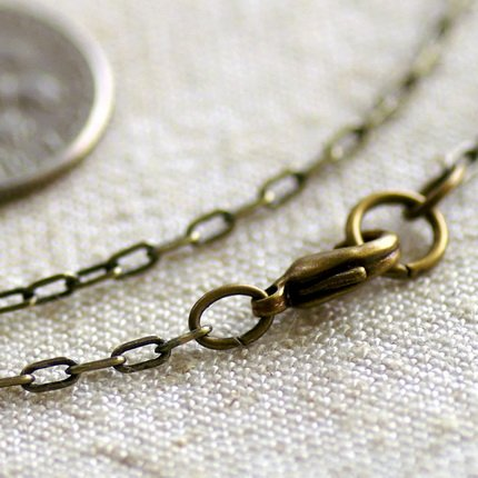 """Antique Bronze Plated Brass Cable Chain Blank Bronze Chains Necklace  cn127a 30"""""""
