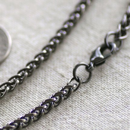 Gunmetal Black Filigree Blank Necklace Black Wheat Chain Necklace cn136 30""