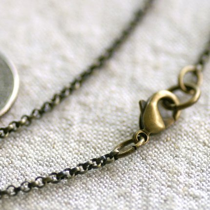 """Antique Bronze Plated Blank Necklace Brass Rolo Chain cn148 30"""""""
